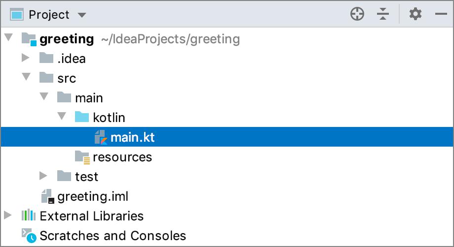 src/main/kotlin/main.kt in the Project tool window