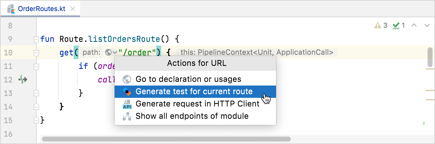 Generate test for route
