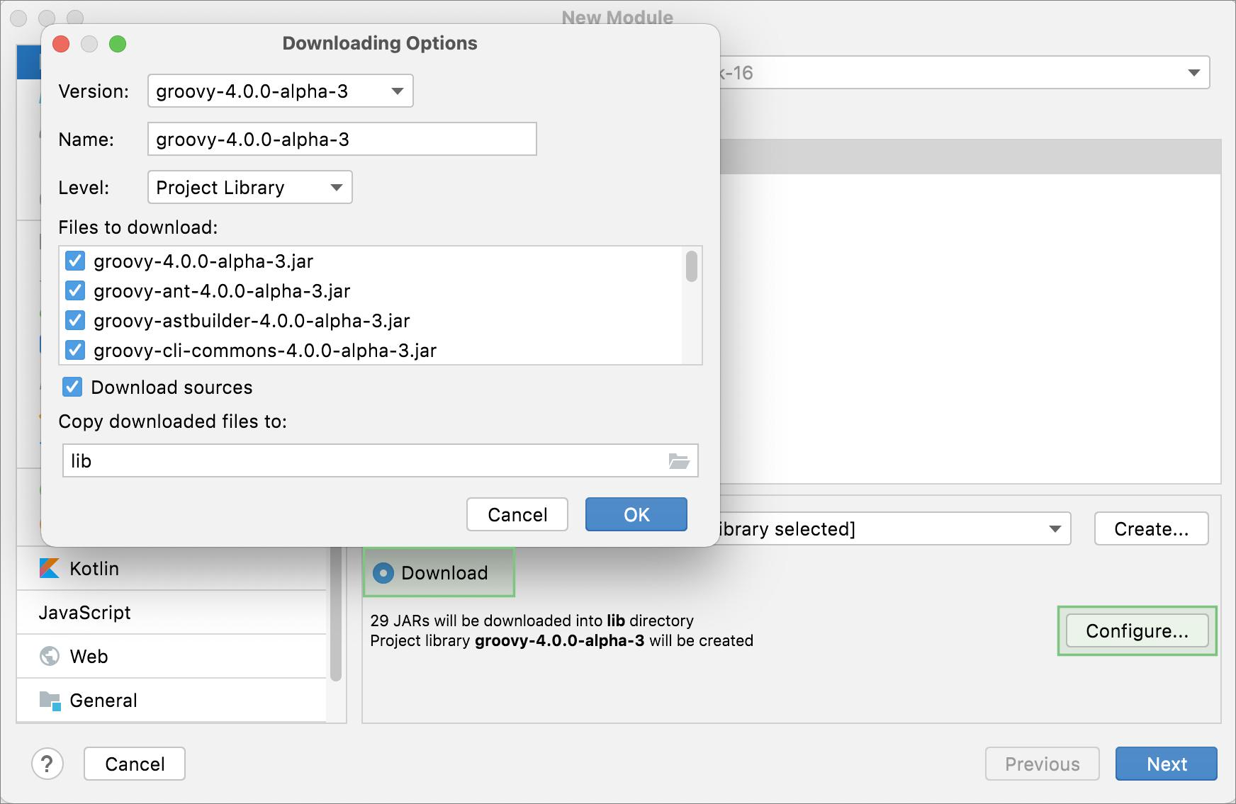 Downloading Options dialog