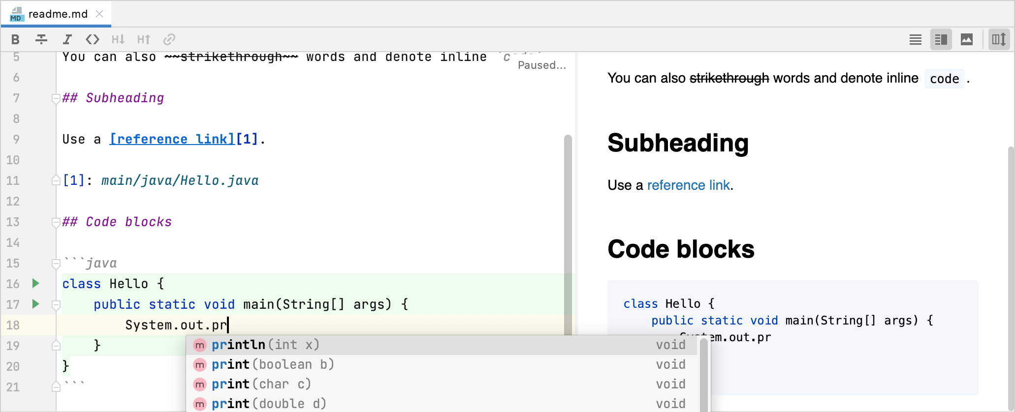 Insert a fenced code block in Markdown