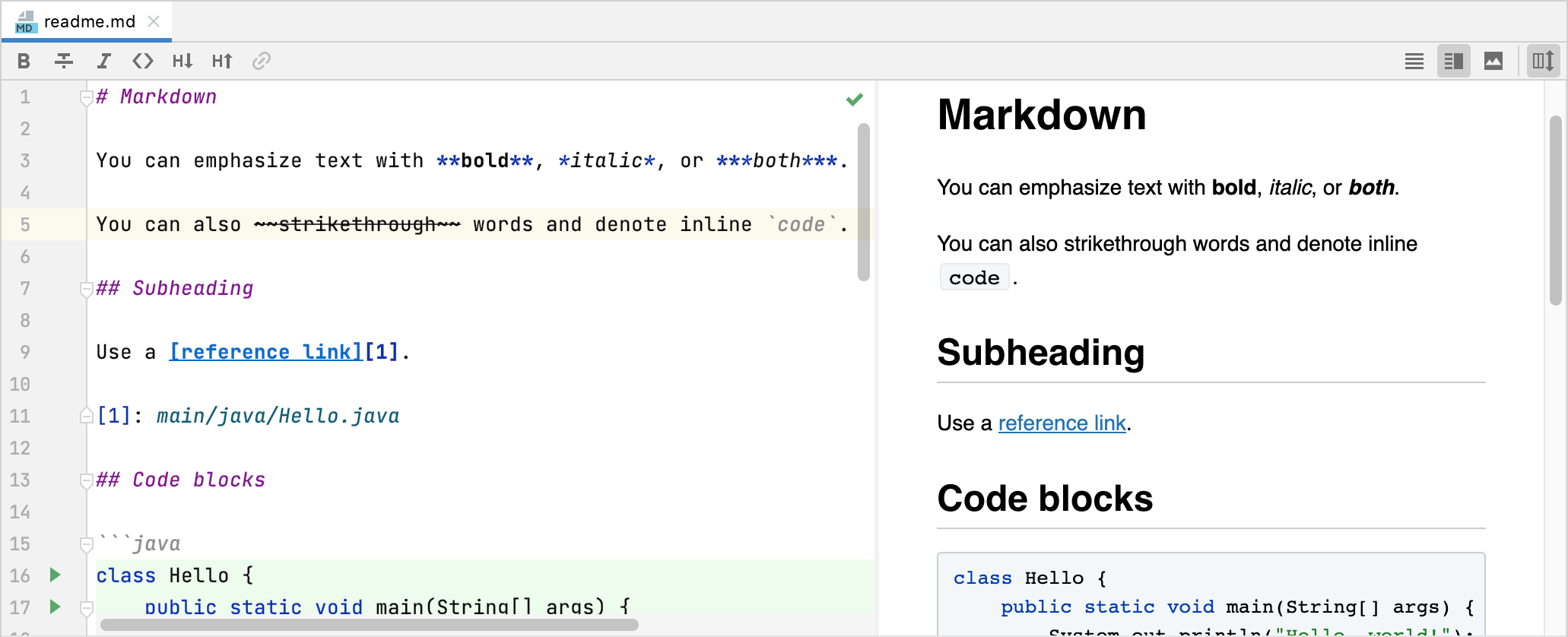 Markdown preview with a custom CSS that resembles GitHub rendering style