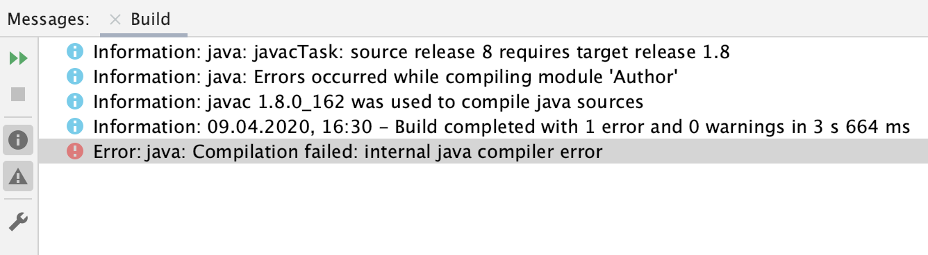 the compiler error