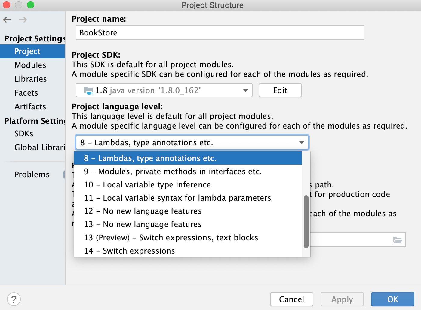the project structure: Project
