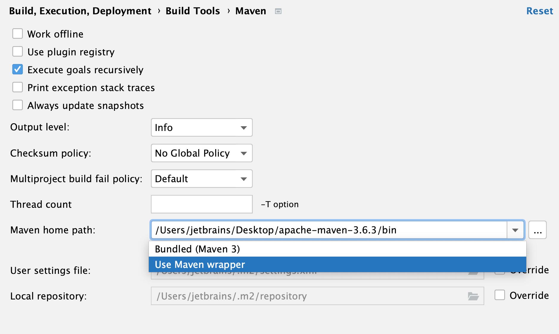 the Maven settings: Maven home directory