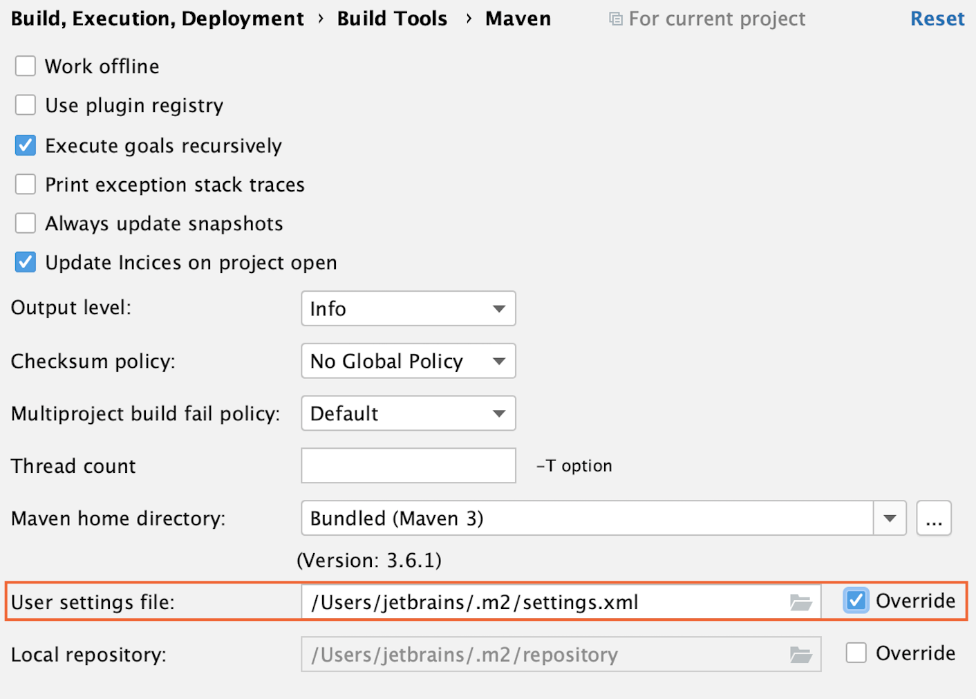 the Maven settings: User setting file