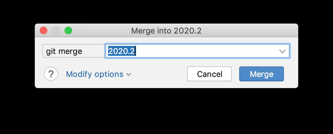 The Merge dialog
