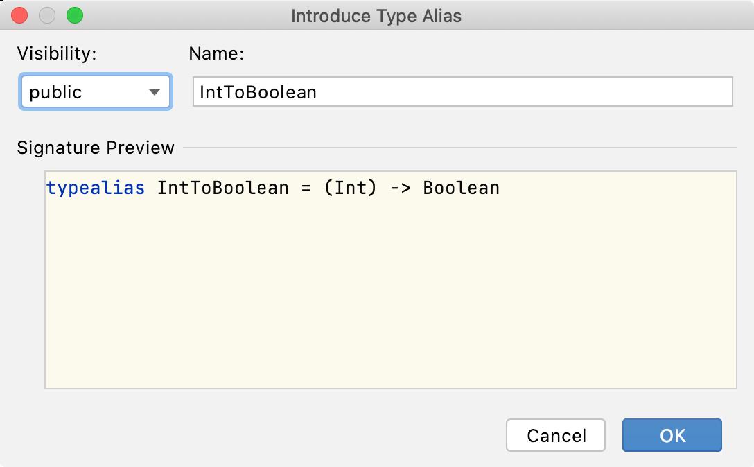the Introduce Type Alias dialog