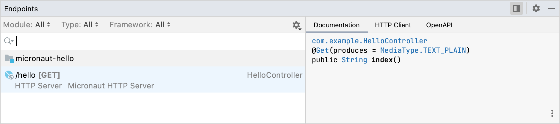The Endpoints tool window with the sample /hello endpoint