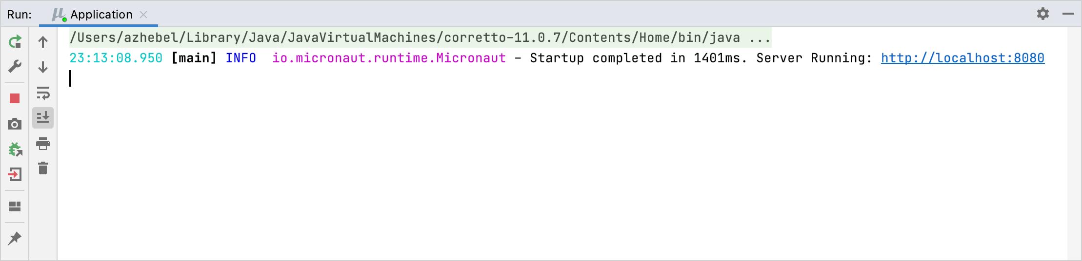 Micronaut application running in the Run tool window