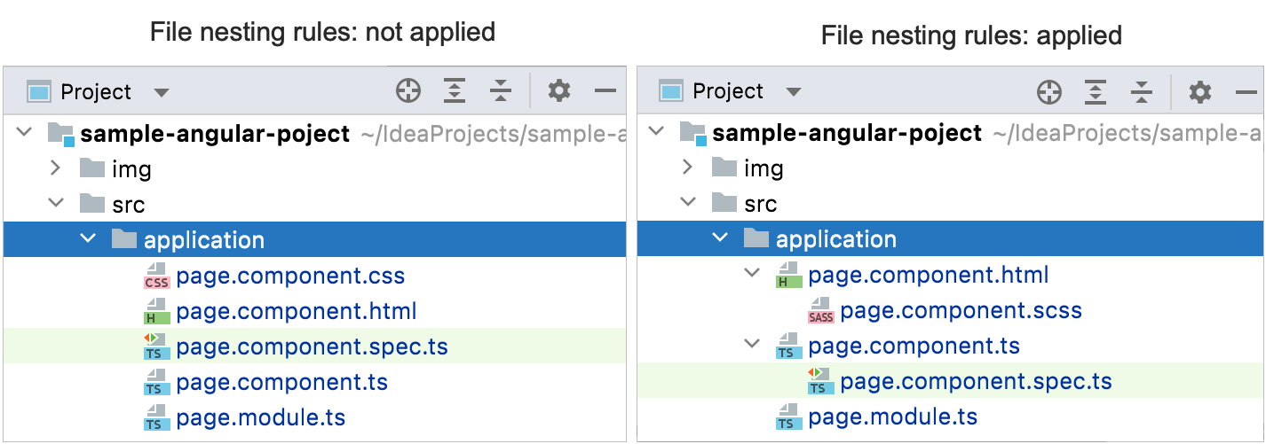 File nesting rules applied vs file nesting rules not applied