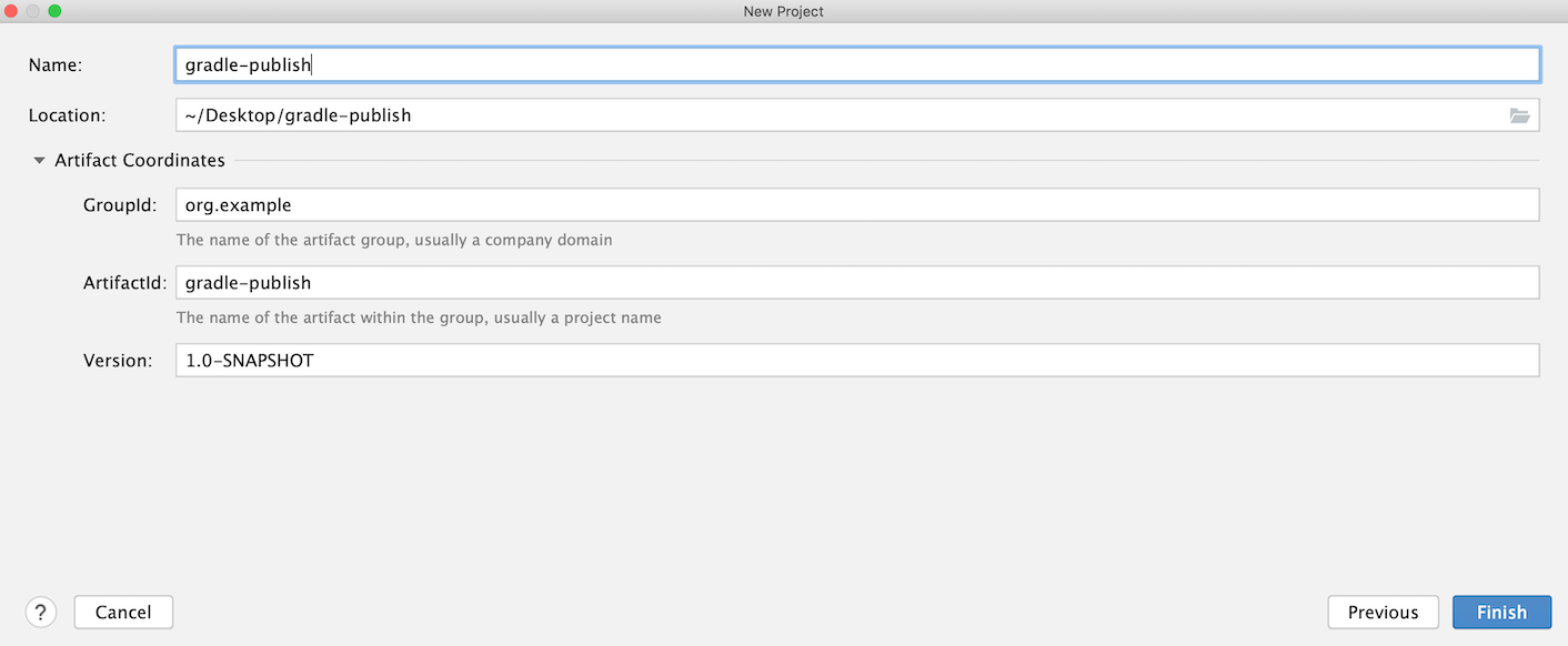 New Project dialog: project name