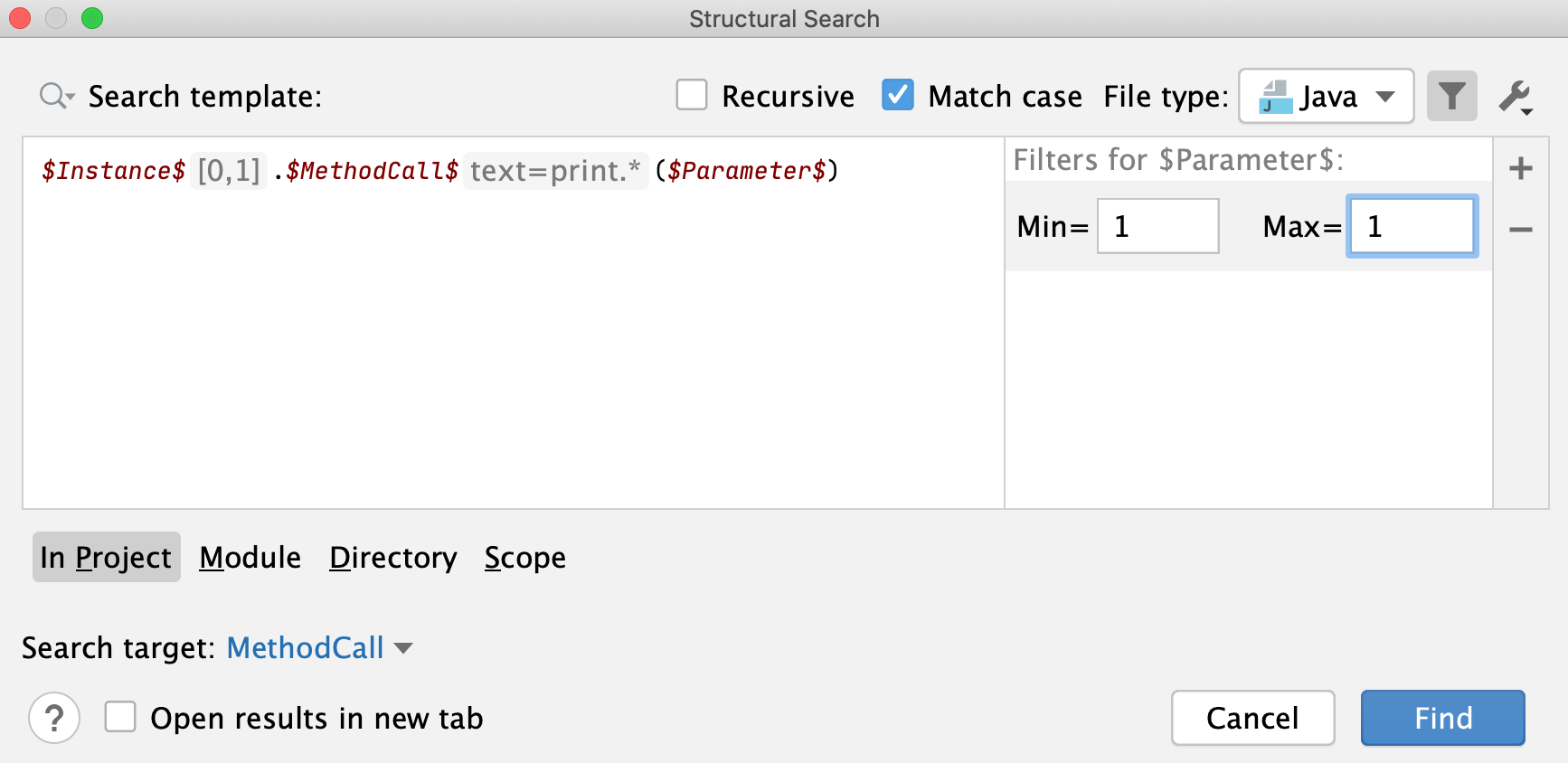 Add the count filter for parameter