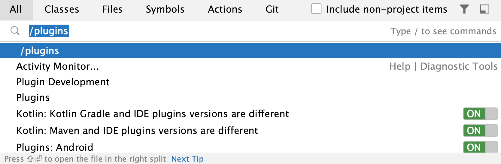 the Search Everywhere: /plugins