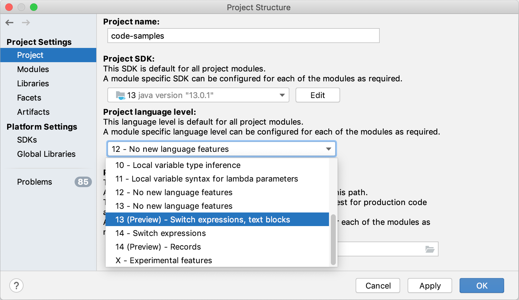 selecting preview features in Language level