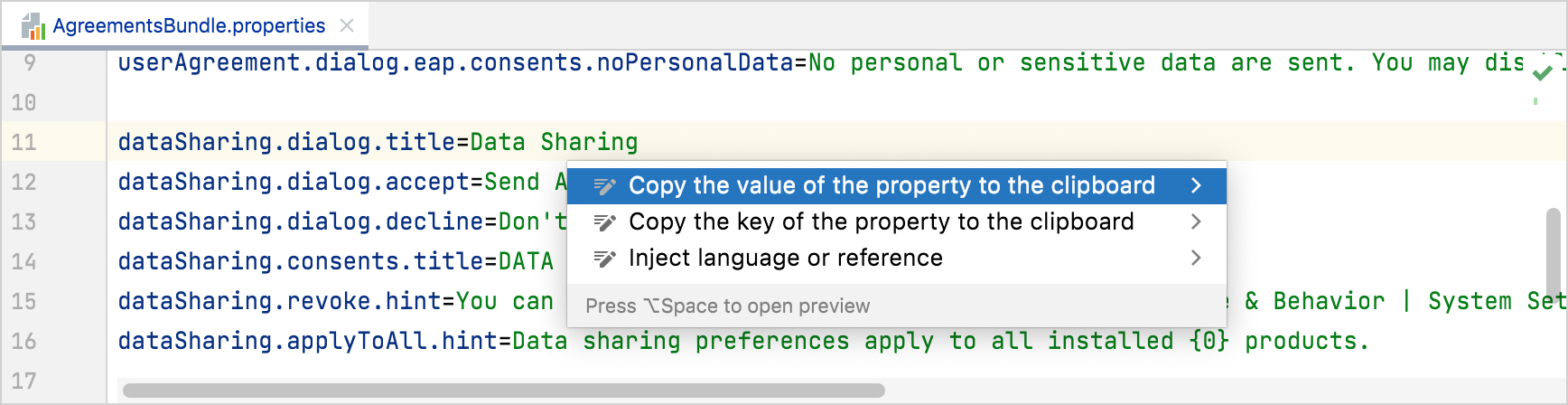 Context actions to copy the key and value of a property