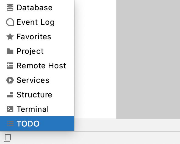 Tool windows bars menu