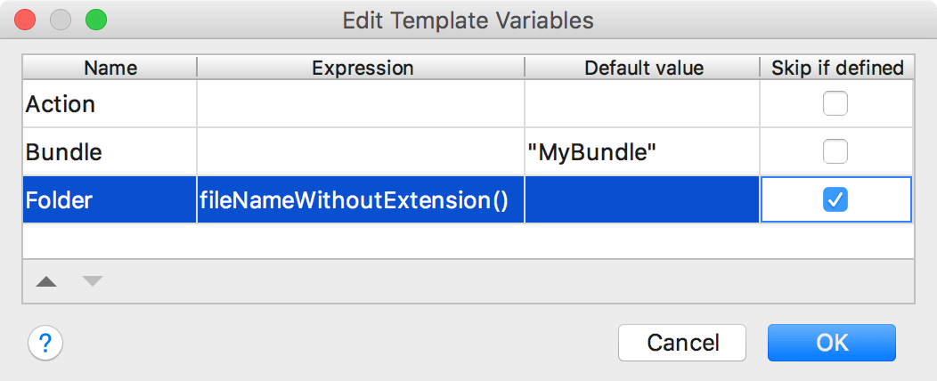 Controller action live template variables