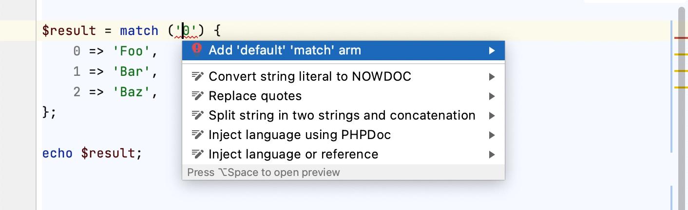 Adding a default match arm