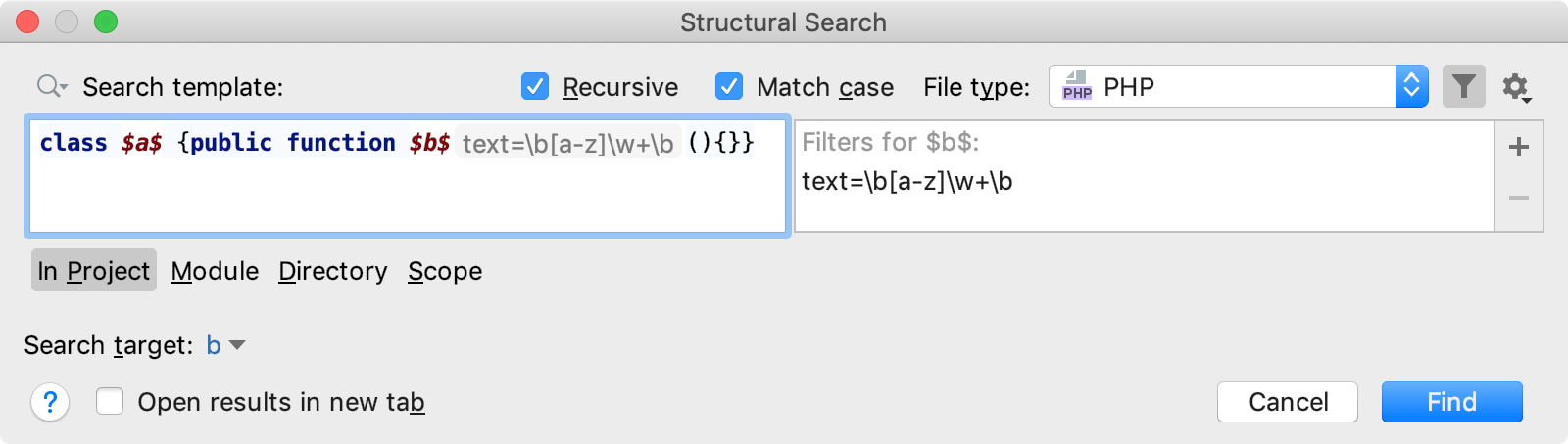 Add regular expression to the filter dialog