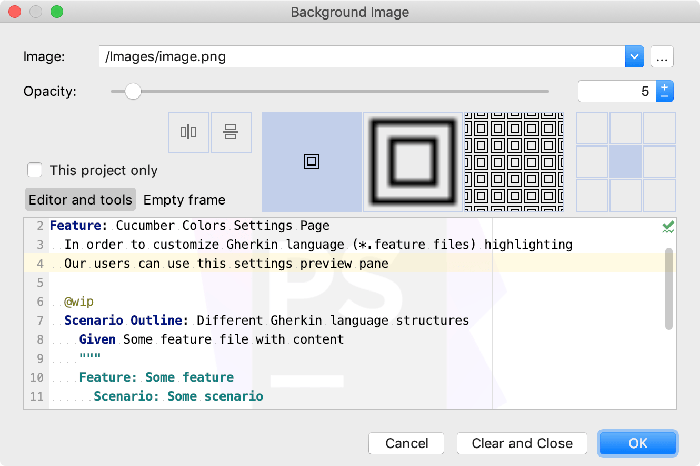 The Background Image dialog