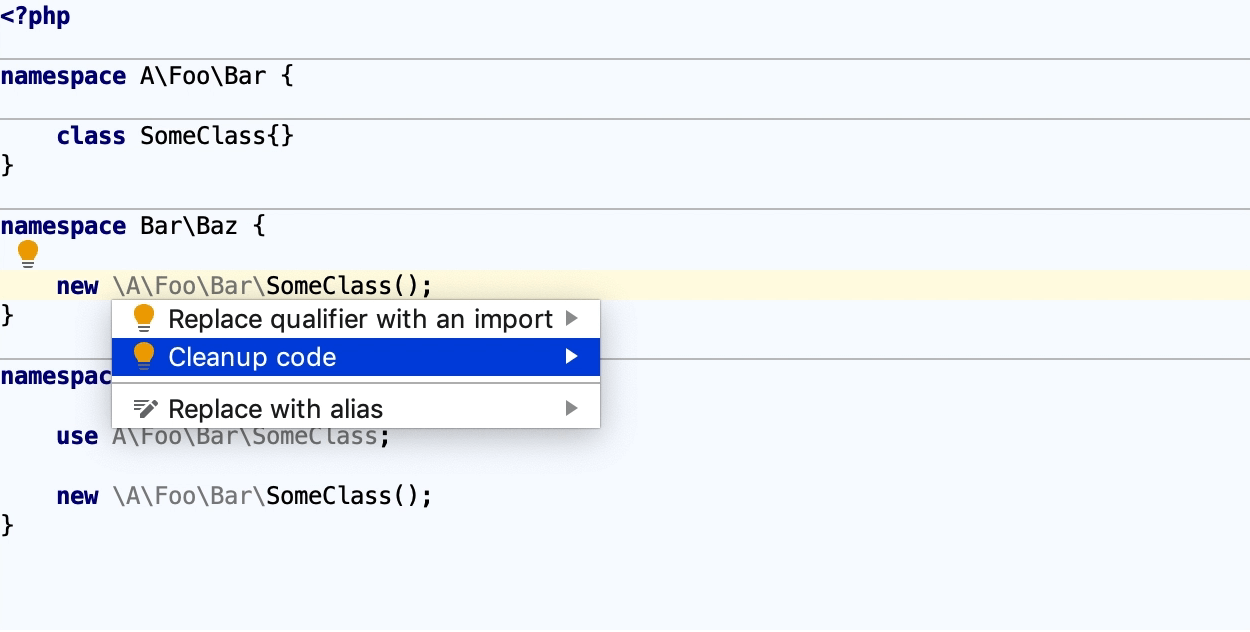 Clean up code with a quick-fix