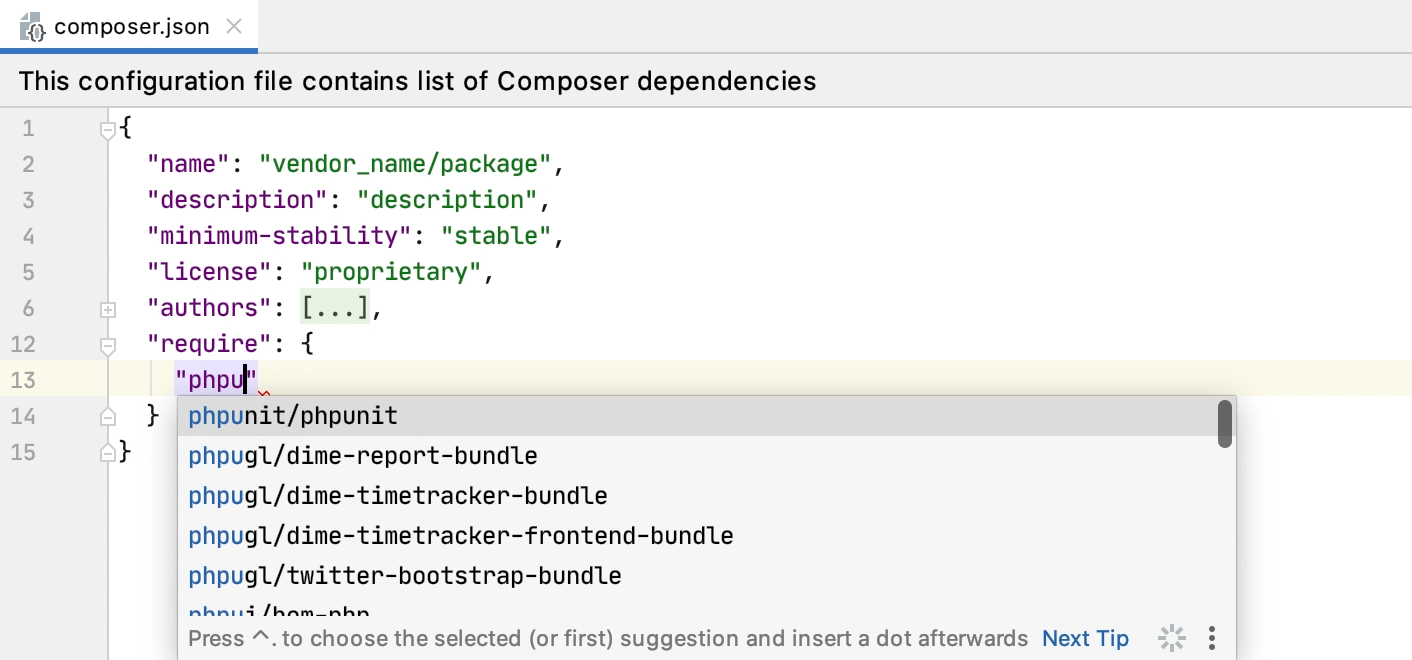 Code completion in composer.json