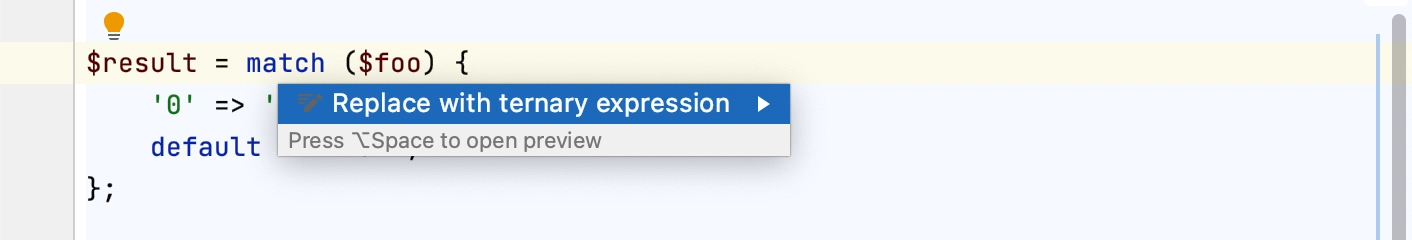 Converting a match expression to a ternary expression