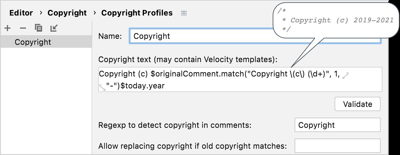 Configuring a copyright profile