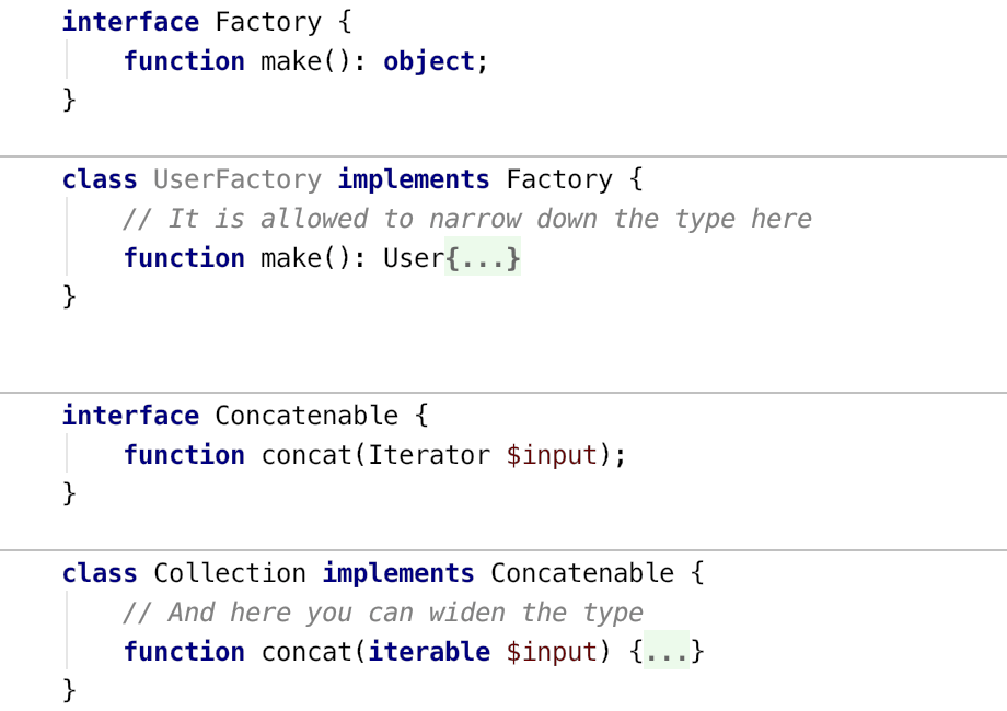Using covariant and contravariant types