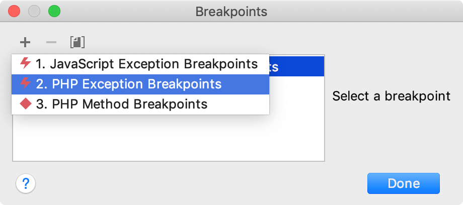 creating an exception breakpoint