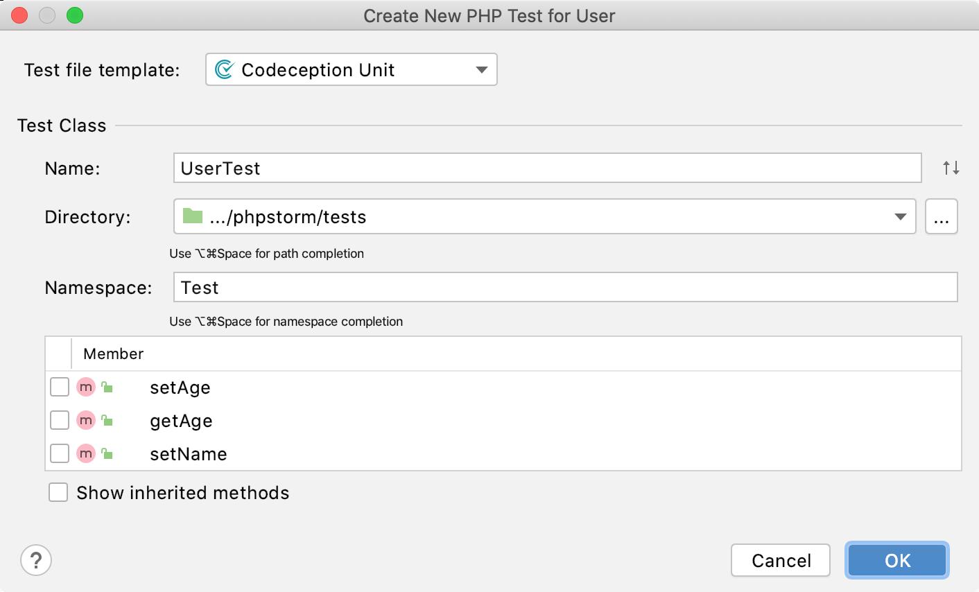 the Create new codeception test dialog