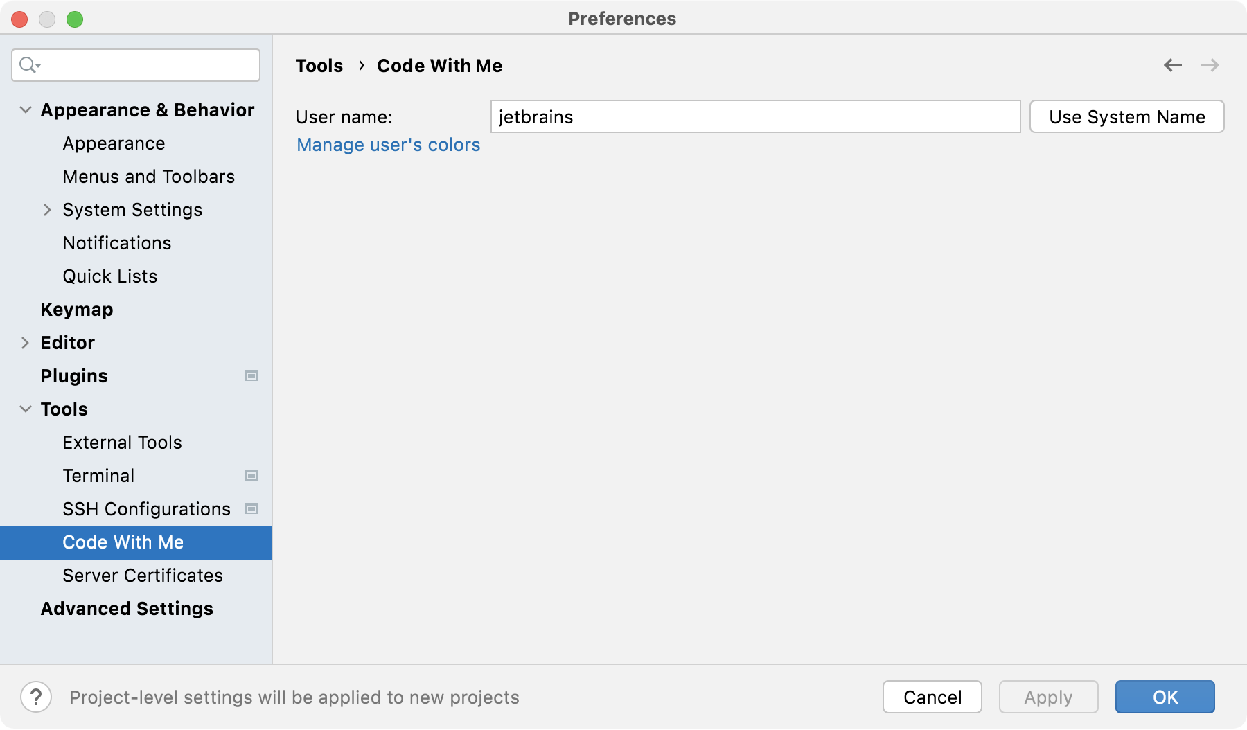 the Code With Me settings