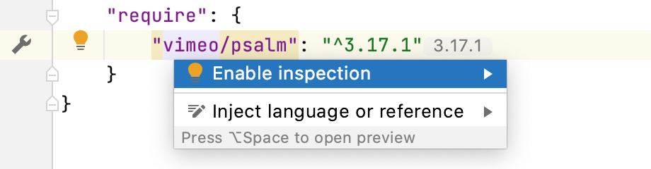 Enable the Psalm inspection