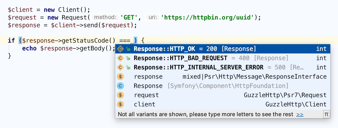 Code completion for http request with expected return values