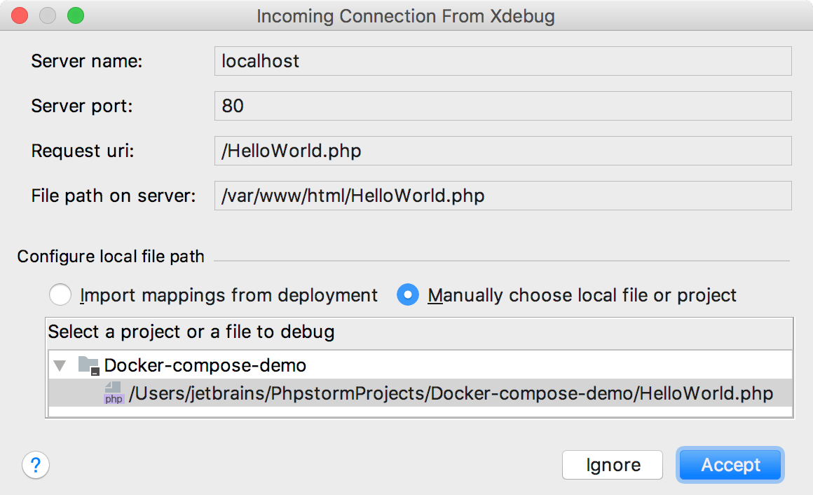 Incoming debugger connection Xdebug
