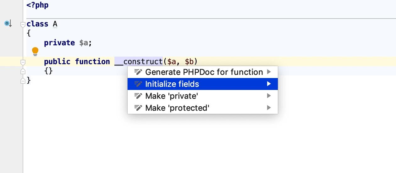 Initialize class properties intention