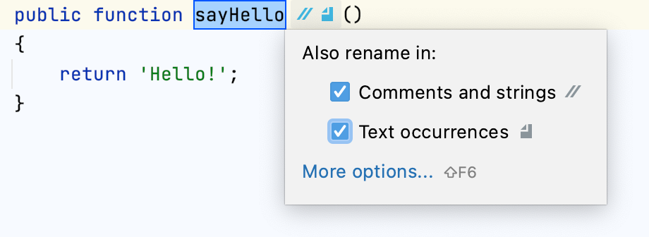 The inplace rename refactoring dialog
