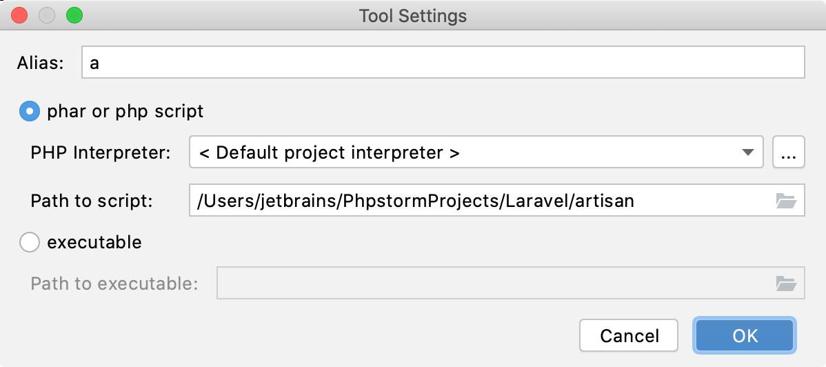 the artisan command-line tool settings