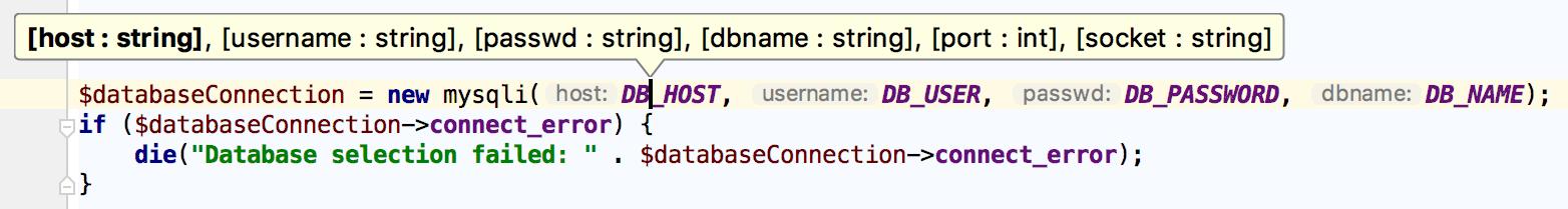 Showing parameter info