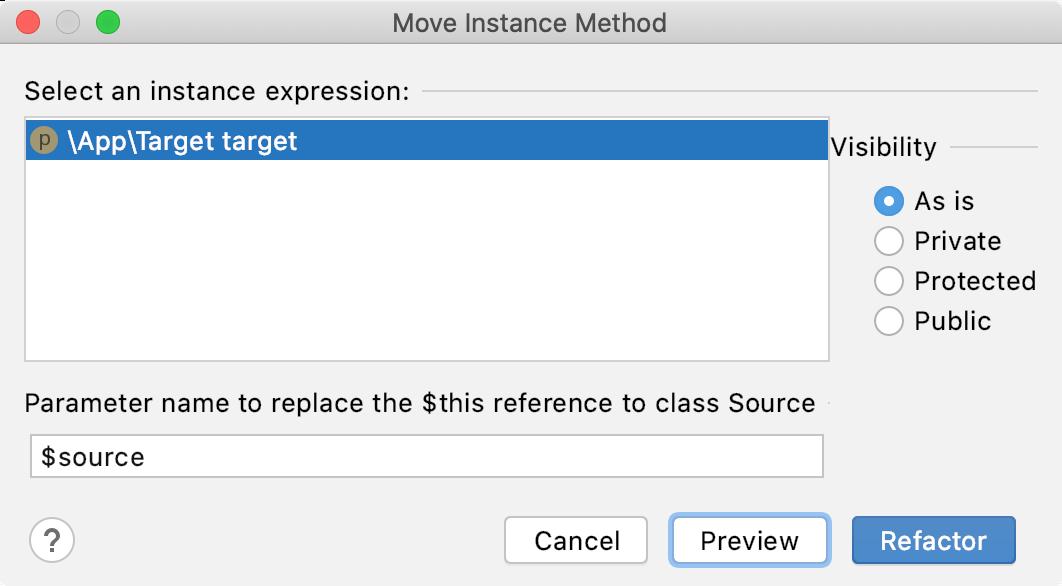 Move Instance Method Dialog