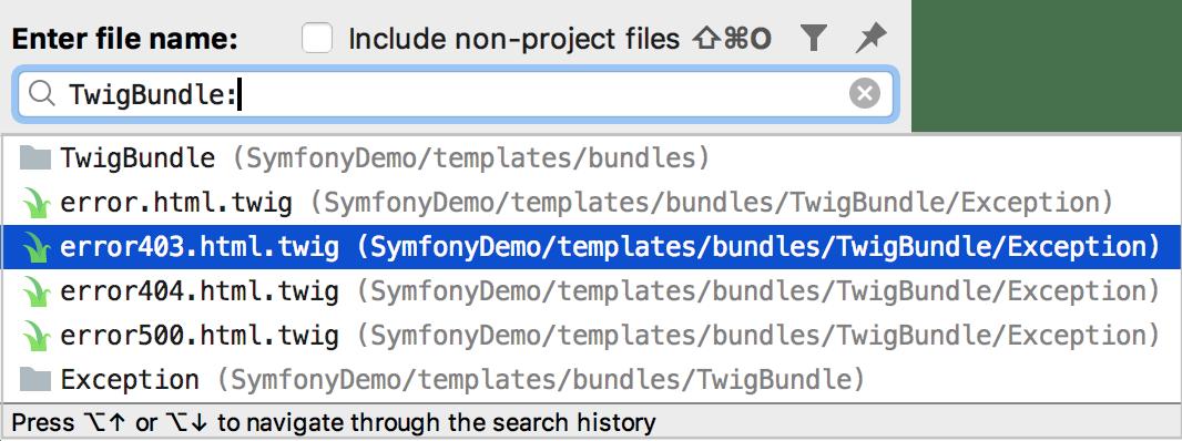 Navigate to Symfony template bundle