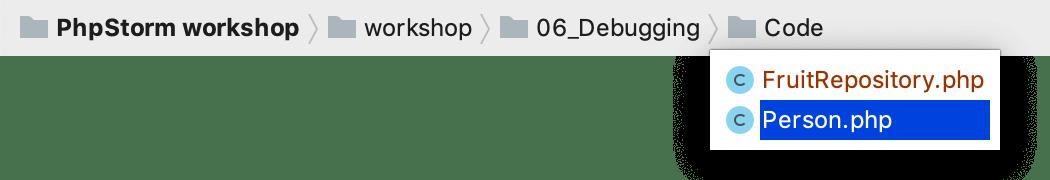 PhpStorm: using navigation bar to open files