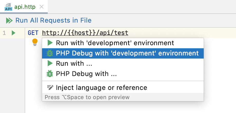 PHP Debug intention action with environment in an HTTP request file