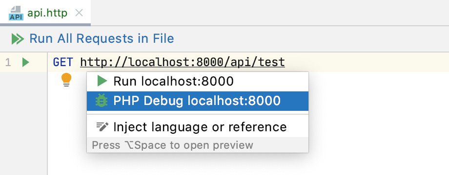 PHP Debug intention action with  in an HTTP request file
