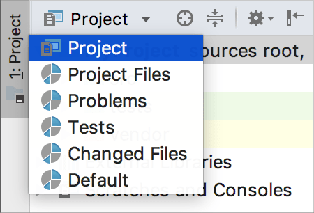 PhpStorm: choosing a view in the Project tool window