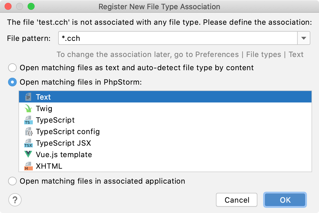 PhpStorm: Associating a filename pattern with specific file type