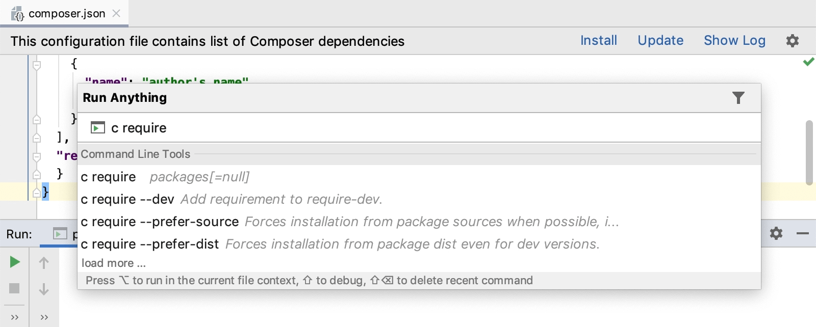 Running a composer command