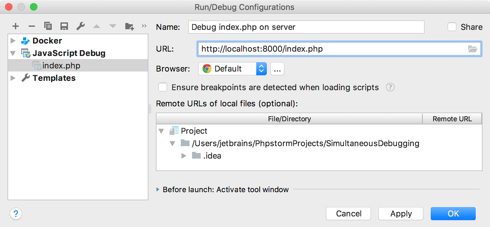 JavaScript Run/Debug Configuration
