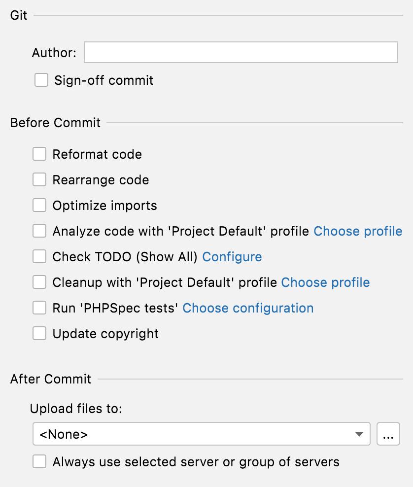Pre-commit checks menu