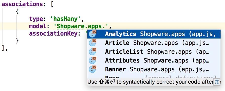Shopware: Complete ExtJs model